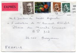 Espagne--1987--Lettre EXPRES à Destination De Bergerac-24-France--jolie Composition De Timbres - 1981-90 Lettres