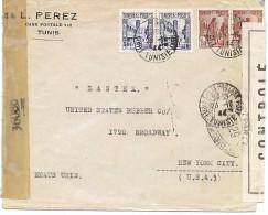 CTN43 - TUNISIE LETTRE A DESTINATION DE NEW YORK 23/10/1944 CENSURE - Tunisia (1888-1955)