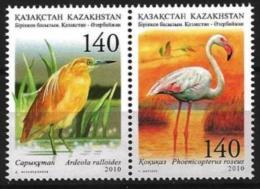 KAZAKHSTAN 2010 Kazakhstan-Azerbaijan. Fauna Of Caspian. Yellow Heron. Flamingo. - Kazajstán
