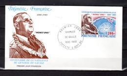 """POLYNESIE FRANCAISE 1990 Env. 1er Jour """" DE GAULLE /  PAPEETE 02-09-1990 """" N° YT 364. FERMEE . FDC - De Gaulle (General)"""