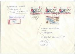 Czechoslovakia Letter Via Yugoslavia,Macedonia 1985..nice Stamps Olympic Games,Big Cover - Brieven En Documenten