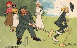 [DC9695] CPA - ILLUSTRATEUR TOM B. RARE COMIC HUMOUR HUMOR UMORISTICA - CROQUET - Viaggiata - Old Postcard - Humor