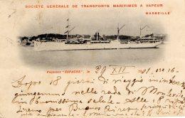 [DC9704] CPA - SOCIETE' GENRALE DE TRANSPORTS MARITIMES A VAPEUR MARSEILLE PAQUEBOT ESPAGNE Viaggiata - Old Postcard - Commercio
