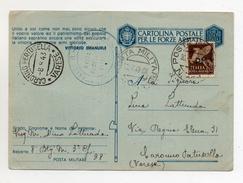 Italia Regno - 29.07.1943 - Cartolina Postale Per Le FF.AA. Con Affrancatura 50 Cent. Sovrastampato P.M. (FDC652) - Weltkrieg 1939-45