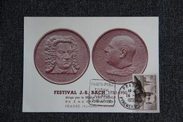 PRADES - Rare CPA Commémorative Du Festival J.S BACH Dirigé Par Pau CASALS Du 2 Au 20 Juin 1950. - Prades
