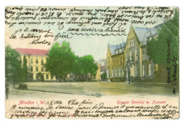 12909  Cpa  MINDEN  : RARE !!  Grosser Domhof M. Postamt  ! Précurseur 1906 , 2 SCANS  ( Abimée Coin Haut Droit  ) - Minden
