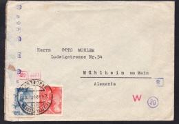 España 1942. Carta De Barcelona A Muhlheim. Censura. - Marcas De Censura Nacional