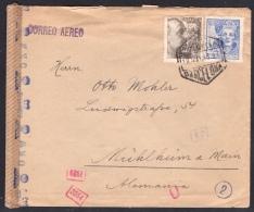 España 1943. Correo Aereo  De Barcelona A Muhlheim. Censura. - Marcas De Censura Nacional
