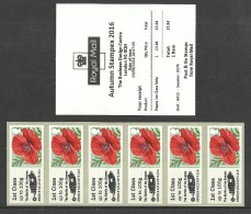 GB 2016 STAMPEX AUTUMN A012 MILITARY SOMME 1ST CLASS STRIP POST & GO ATM MNH - Great Britain