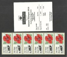 GB 2016 STAMPEX AUTUMN B001 MILITARY SOMME 1ST CLASS STRIP POST & GO ATM MNH - Great Britain