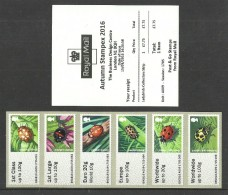GB 2016 STAMPEX AUTUMN A009 LADYBIRDS COLLECTORS STRIP POST & GO ATM MNH - Great Britain