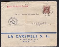 España 1944. Carta De Murcia A Portland. Censura. - Marcas De Censura Nacional