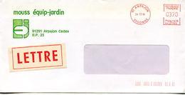 EMA Mouss équip-Jardin,étiquette De La Poste Lettre,91 Arpajon,Essonne,lettre Obliterée 24.12.1984 - EMA (Printer Machine)
