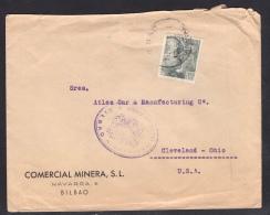 España 1943. Carta De Bilbao A Cleveland. Censura. - Marcas De Censura Nacional