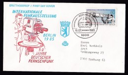 Germany-Berlin: FDC First Day Cover, 1985, Single Franking, TV, Television Camera (traces Of Use) - Briefe U. Dokumente