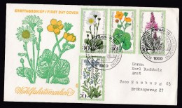 Germany - Berlin: FDC First Day Cover, 1977, 4 Charity Stamps, Wild Flowers (traces Of Use) - Brieven En Documenten