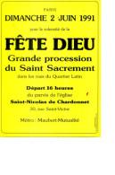 1991 FETE DIEU SAINT NICOLAS DU CHARDONNET 2 JUIN FORMAT 15CMX21CM - Faire-part