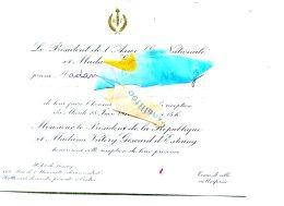 1977 TOP CARTOn INVITATION EDGAR FAURE ASSEMBLEE NATIONALE GISCARD D ESTAING GARDEN PARTYFORMAT 15CMX21CM - Faire-part