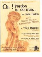 Carte Publicitaire Théatre Théo Paris Oh ! Pardon Tu Dormais  Jane Birkin Gaelle Gedon  Christophe Bélair - Advertising