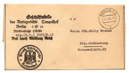 DR Brief Vom Preuß. Amtsgericht TEMPELHOF 25.2.36 Nach B.-SCHÖNEBERG - Dienstpost