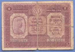 UNA LIRA Kassa Veneta 1916?, Banknote Stark Gebraucht - [ 1] …-1946 : Royaume
