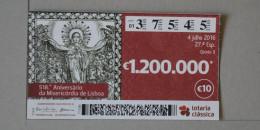 PORTUGAL   2016 - LOTARIA CLASSICA 27ª   - 2 SCANS - (Nº16329) - Billets De Loterie