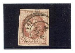 France N°40B Obliteté Deuxieme Choix , Timbre Avec Un Clair - 1870 Bordeaux Printing
