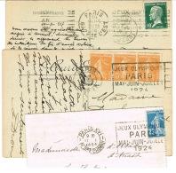 OBLITERATIONS MECANIQUES JEUX OLYMPIQUES PARIS 1924 TROIS EMPREINTES DIFFERENTES PARIS FLIER ET RBV