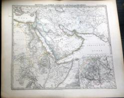 MOYEN ORIENT ARABIE MITTLE AFRICA ARABIEN   CARTE GEOGRAPHIQUE ATLAS MAP  1871   TRES DETAILLEE  40 X 33 Cm - Carte Geographique