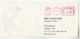 1978 ITALY COVER METER SLOGAN Pmk IBM ITALIA MILAN To IBM Germany  Computing - Computers
