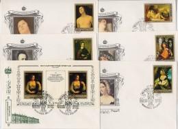FDC 6 Covers 1982 USSR Russia Set Block BF Painting ITALY Masterpiece Hermitage Perugino Titian Correggio Capriole Fetti - FDC
