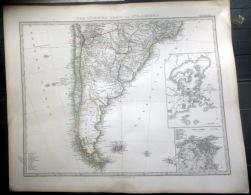 AMERIQUE DU SUD ARGENTINE SOUTH AMERICA ARGENTINA    CARTE GEOGRAPHIQUE ATLAS MAP  1871   TRES DETAILLEE  40 X 33 Cm - Geographical Maps