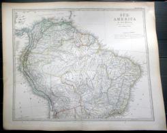 AMERIQUE DU SUD BRESIL SOUTH AMERICA BRASILIA  CARTE GEOGRAPHIQUE ATLAS MAP  1871   TRES DETAILLEE  40 X 33 Cm - Geographical Maps