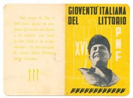 PALERMO TESSERA  FASCISTA  PARTITO NAZIONALE FASCISTA GIL ( IL FIGLIO DELLA LUPA ) ANNO XVI 1938 - Historical Documents