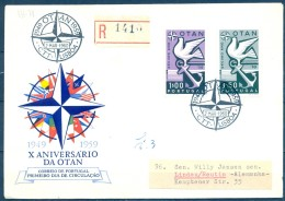 1960 , PORTUGAL , 10º ANIVERSARIO DE LA OTAN , YV. 859 - 860 , SOBRE PRIMER DIA , CIRCULADO A LINDAU - 1910-... República