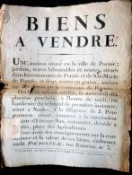 44 PORNIC  PLACARD  D´ANNONCE DE VENTE   BIENS A VENDRE MAISON ET DEUX RENTES EN GRAINS  VERS 1805 - Documents Historiques