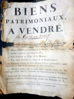 44 SAINT SEBASTIEN ET VERTOU  D´ANNONCE DE VENTE  BIENS PATRIMONIAUX ET BORDERIE     VERS 1805 - Documents Historiques