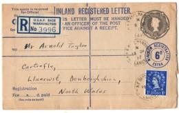 Great Britain - 1957 Registered Letter U.S.A.F. Base Warrington - 1952-.... (Elizabeth II)