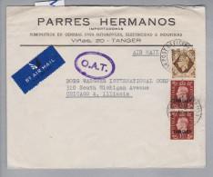 Marokko Tangier Tanger 1948-03-10 O.A.T. Luftpostbrief Nach Chicago USA - Maroc (1956-...)