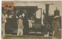 Carte Photo 70 L' Ex Roi D' Annam Thanh Thai En Tenue De Voyage Descendant Du Train Timbrée Tourane Gros Defaut - Viêt-Nam