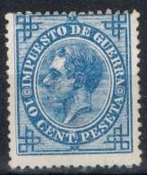 Sello 10 Cts Alfonso XII, Impuesto Guerra, Variedad Impresion, Edifil Num 184 * - Impuestos De Guerra