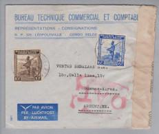 Belgisch Kongo 1945-08-06 Zensur O.A.T. Luftpostbrief Nach Buenos Aires Argentinien