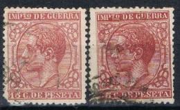 Sellos 15 Cts Alfonso XII, Impuesto Guerra, Variedad Color, Edifil Num 183-183a º - Impuestos De Guerra