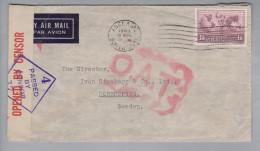 Australien 1945-08-09 Adelaide Zensur O.A.T. Luftpostbrief Nach Norrkoping Schweden - 1937-52 George VI