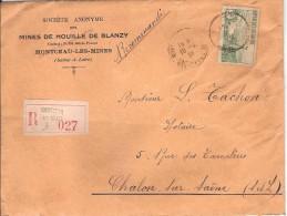 BLANZY_PERFORE MB (MINES DE BLANZY)_lettre Recommandée 1936 - Gezähnt (Perforiert/Gezähnt)