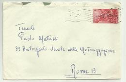 Francobollo Lire 25 Interpol Roma 1954 Su Busta - 6. 1946-.. Republic