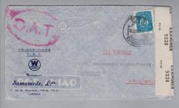 Portugal 1945-06-28 Lissabon Zensur O.A.T. Luftpostbrief Nach Linkoping Schweden - 1910-... République