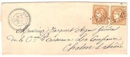 ROMENAY (70)_avril 1871_Affranchissement Paire Yv N°43B D Bistre Brun  GC 3192_cachet Perlé T24_Très Belle Pièce - Storia Postale