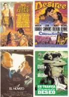 Lot De 4 Cartes Postales Neuves MARLON BRONDO: Cesar, El Novato, Désirée, Un Tranvia Elamado Deseo - Artiesten