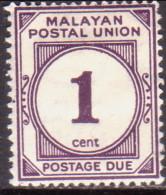 MALAYAN POSTAL UNION 1945 SG #D7 1c MH Perf.15x14 Purple - Malayan Postal Union